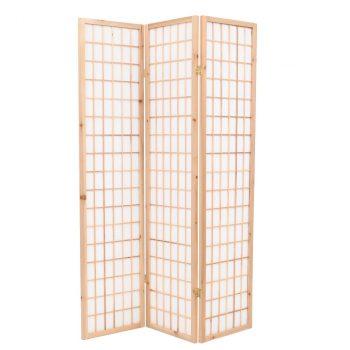 Sklopiva sobna pregrada s 3 panela u japanskom stilu 120x170 cm prirodna