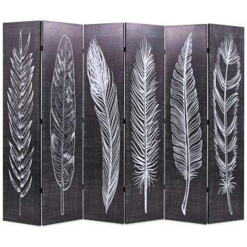 Sklopiva sobna pregrada s uzorkom pera 228x170 cm crno-bijela