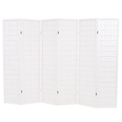Sklopiva sobna pregrada sa 6 panela u japanskom stilu 240x170 cm bijela