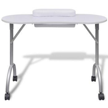 Sklopivi stol za manikuru s kotačićima bijeli