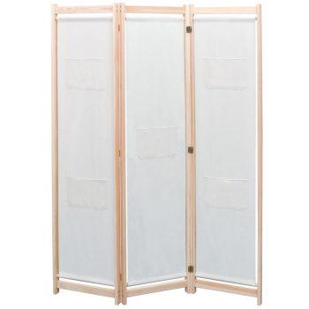 Sobna pregrada s 3 panela od tkanine 120 x 170 x 4 cm krem