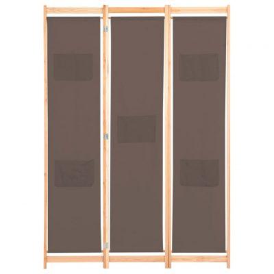 Sobna pregrada s 3 panela od tkanine 120 x 170 x 4 cm smeđa