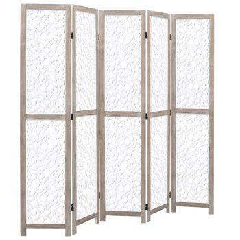 Sobna pregrada s 5 panela bijela 175 x 165 cm od masivnog drva
