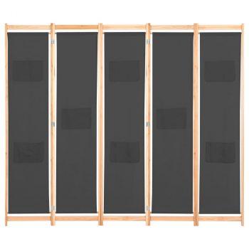 Sobna pregrada s 5 panela od tkanine 200 x 170 x 4 cm siva