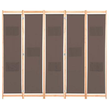 Sobna pregrada s 5 panela od tkanine 200 x 170 x 4 cm smeđa