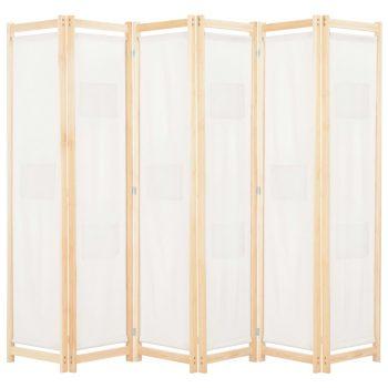 Sobna pregrada sa 6 panela od tkanine 240 x 170 x 4 cm krem