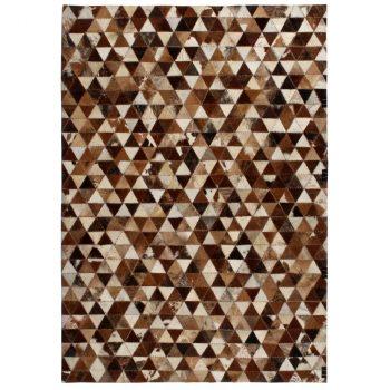 Tepih od prave kože s pačvorkom 80 x 150 cm sa smeđe-bijelim trokutima