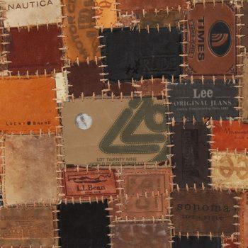 Tepih sastavljen od etiketa za traperice od prave kože 120x170 cm smeđi