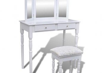 Toaletni Stol s Ogledalom 3-u-1 i Stolicom 2 Ladice Bijeli