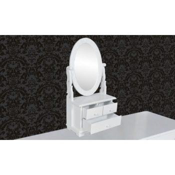 Toaletni Stol s Ovalnim Nagibnim Ogledalom MDF