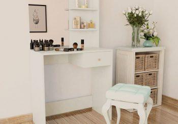 Toaletni Stolić od Iverice 75x40x141 cm Bijeli