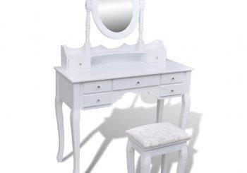 Toaletni stol s ogledalom i stolicom 7 ladica bijeli