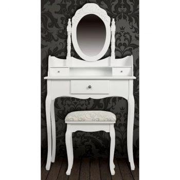 Toaletni stolić s ogledalom i stolicom bijeli