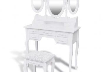 Toaletni stolić sa stolicom i 3 ogledala bijeli