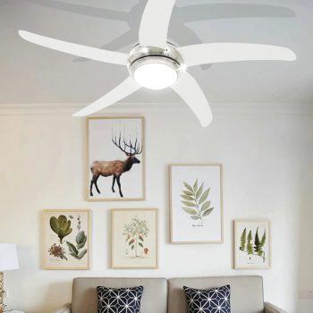 Ukrasni stropni ventilator sa svjetlom 128 cm bijeli