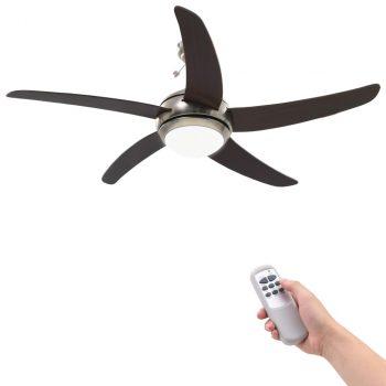 Ukrasni stropni ventilator sa svjetlom 128 cm smeđi