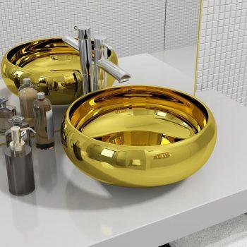 Umivaonik 40 x 15 cm keramički zlatni