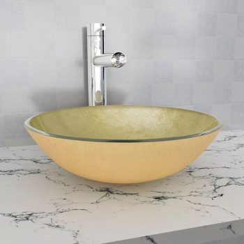 Umivaonik Kaljeno Staklo 42 cm Zlatna boja