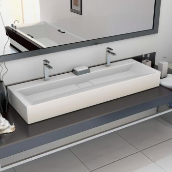 Umivaonik od lijevanih minerala/mramora 120 x 46 x 11 cm bijeli