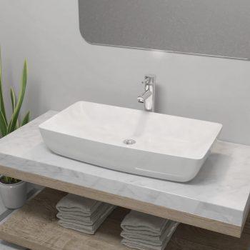 Umivaonik s miješalicom keramički pravokutni bijeli