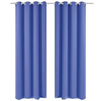 Zavjesa za Zamračivanje s Metalnim Prstenovima 2 kom 135x175 cm Plava
