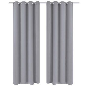 Zavjesa za Zamračivanje s Metalnim Prstenovima 2 kom 135x175 cm Siva