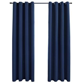 Zavjese za zamračivanje s prstenima 2 kom plave 140 x 245 cm