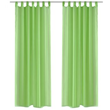 Zelene prozirne zavjese 140 x 175 cm 2 kom