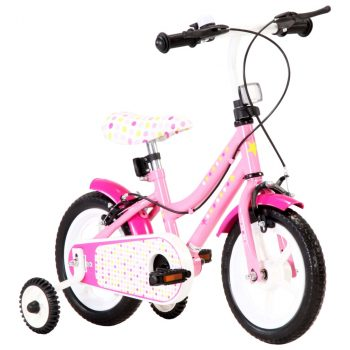 Dječji bicikl 12 inča bijelo-ružičasti