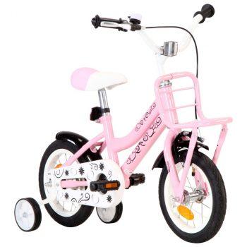 Dječji bicikl s prednjim nosačem 12 inča bijelo-ružičasti