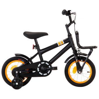 Dječji bicikl s prednjim nosačem 12 inča crno-narančasti