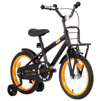 Dječji bicikl s prednjim nosačem 16 inča crno-narančasti
