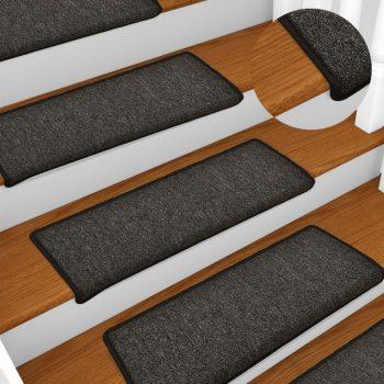 Tepisi za stepenice 15 kom 65 x 25 cm antracit