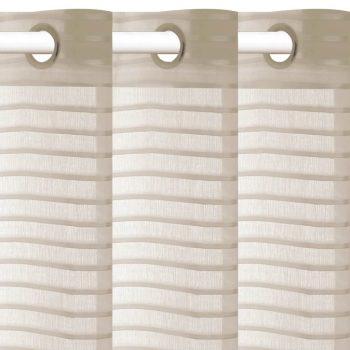Tkane prugaste prozirne zavjese 2 kom 140 x 245 cm bež