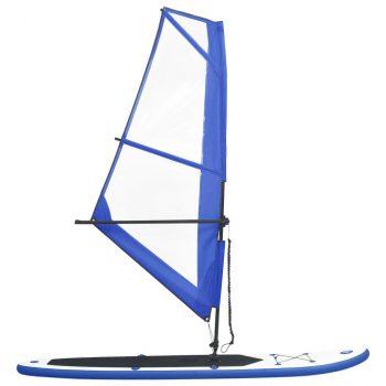 Daska za veslanje stojeći na napuhavanje s jedrom plavo-bijela
