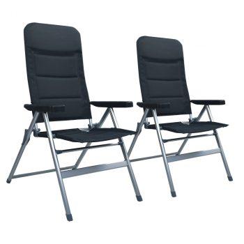 Nagibne vrtne stolice 2 kom aluminijske crne