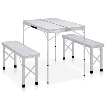 Sklopivi stol za kampiranje s 2 klupe aluminijski bijeli