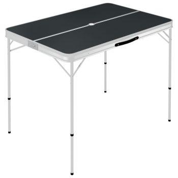 Sklopivi stol za kampiranje s 2 klupe aluminijski sivi