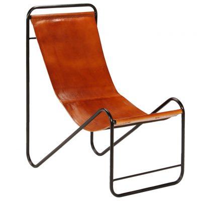 Stolica od prave kože smeđa