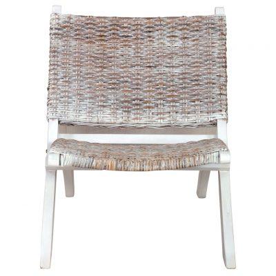 Stolica za opuštanje bijela od ratana kubu i drva mahagonija