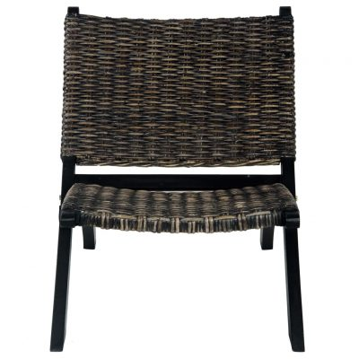 Stolica za opuštanje crna prirodni ratan kubu i drvo mahagonija
