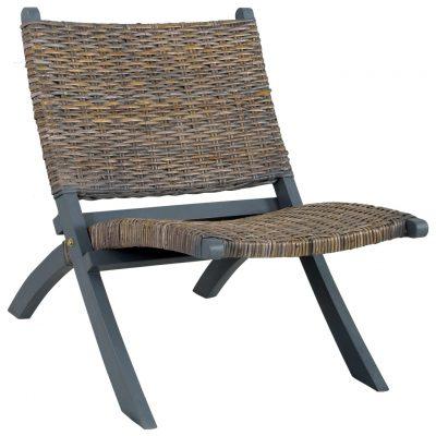 Stolica za opuštanje siva prirodni ratan kubu i drvo mahagonija