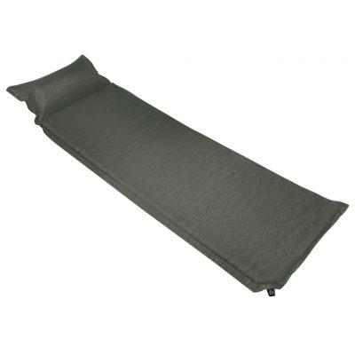 Zračni madrac na napuhavanje s jastukom 55 x 185 cm tamnozeleni