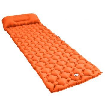 Zračni madrac na napuhavanje s jastukom 58 x 190 cm narančasti