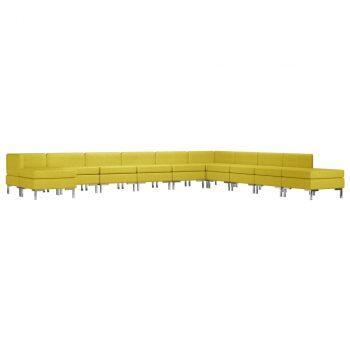 11-dijelni set sofa od tkanine žuti