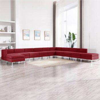 11-dijelni set sofa od tkanine crvena boja vina