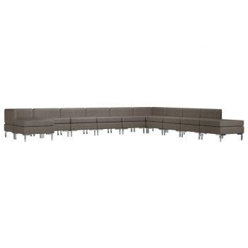 11-dijelni set sofa od tkanine smeđe-sivi