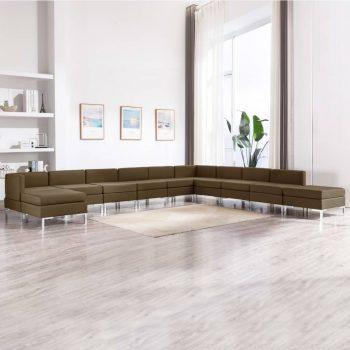 11-dijelni set sofa od tkanine smeđi
