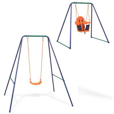 2-u-1 obična ljuljačka i ljuljačka za malu djecu narančasta
