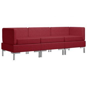 3-dijelni set sofa od tkanine crvena boja vina